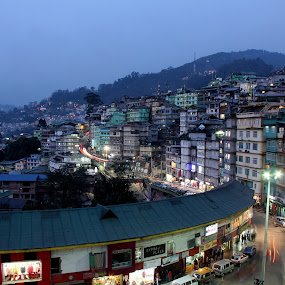 Sikkim City, India by Tamil Selvam - City,  Street & Park  Skylines ( asia, night, india, sikkim, city )