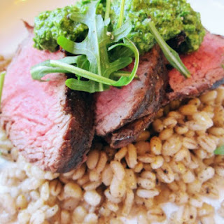 Charred Beef Tenderloin With Cacio e Pepe Toasted Barley and Watercress Pesto