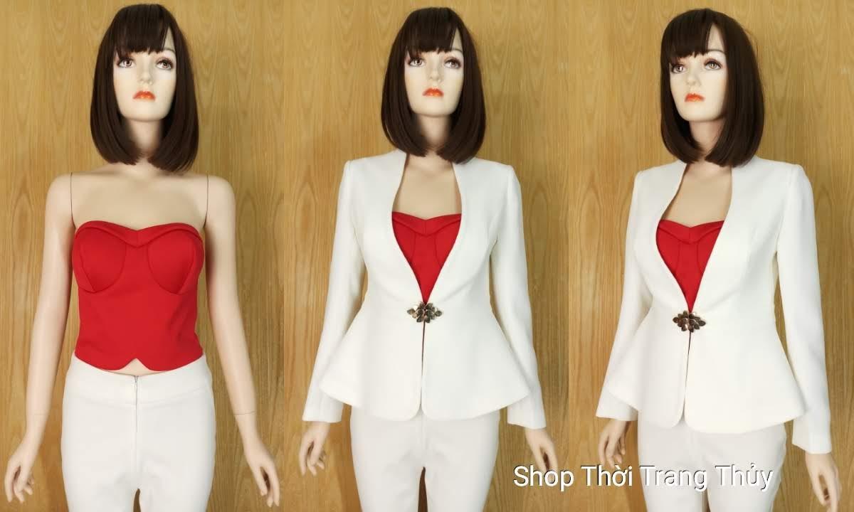 áo vest nữ peplum mùa Noel V656 thời trang thủy hải phòng