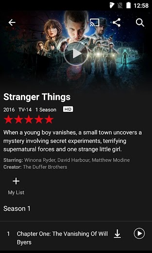 Screenshot 1 for Netflix's Android app'