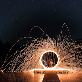 Playing with Fire by Angelica Less - Abstract Light Painting ( light painting, spinning, steel wool, night, circle, sparks, fire,  )
