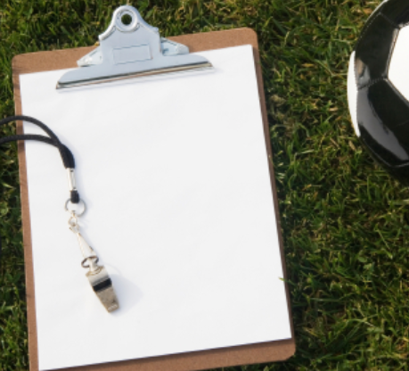 Clipboard and ball on grass