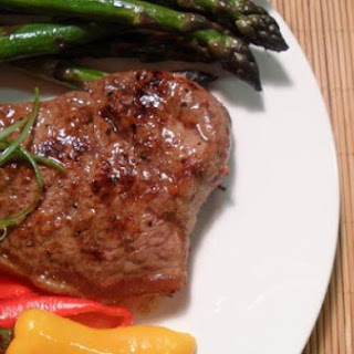 New York Strip Steak w Asparagus & Mini Bell Peppers