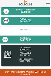 Kukun home remodeling costs roi android apps on for Home improvement roi