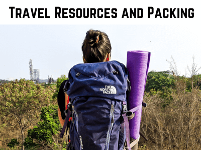 the author carrying a backpack used as a cover photo for the section travel resources and packing on the travel blog on my canvas