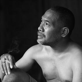 thinking by Jaya Prakash - People Portraits of Men