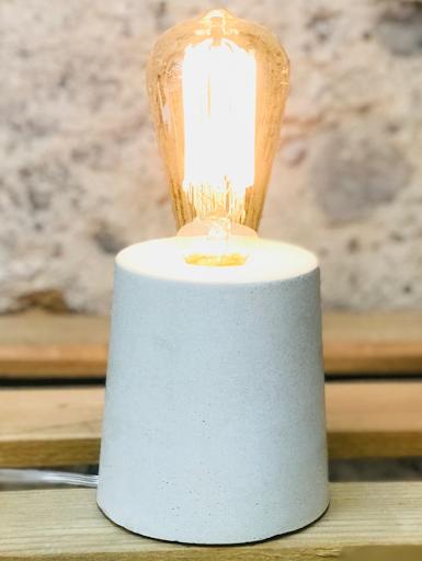 lampe béton blanc forme design fait-main création béton