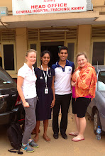 Photo: Me, Sarayu, Darryn and Anthea in front of Kandy General Hospital.