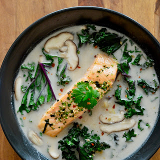 Thai Coconut Soup with Salmon & Kale.
