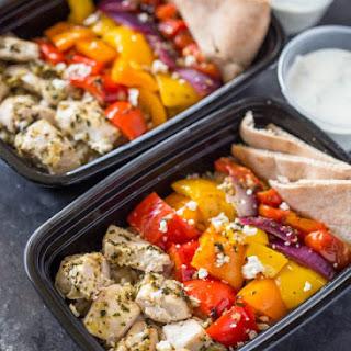 Meal-Prep Greek Chicken and Veggies with Tzatziki.