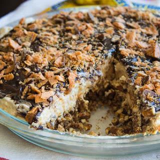 Peanut Butter Butterfinger Pie with a Pretzel Crust