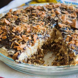Peanut Butter Butterfinger Pie with a Pretzel Crust.