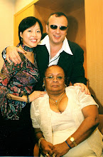 Photo: Backstage @ Buena VIsta Social Club's HK event 2003. A happy moment with a very serious Mrs. Ibrahim Ferrer.