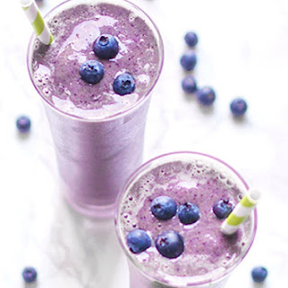 High Protein Blueberry Kale Smoothie.