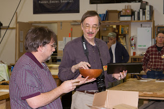 Photo: Gary has been instrumental in the success of MCW.  In the 6 years of MCW, Gary was Program Chair for the last 4 years, Secretary, safety czar, Newsletter and Website contributor, and candid photographer.  Tim presented to Gary, for all his contributions, a fine Pacific madrone bowl graciously donated by AAW President Dale Larson at the time of his previous visit to MCW.