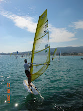 """Photo: A deep belly produces lots of grunt in light winds, and the skin tension created by """"overtensioning"""" the battens make the sail twist correctly. Rikard Almquist at La Ciotat."""