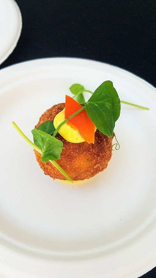 Photo Recap of Tastes of Spain, La Ruta PDX 2017, Kachka's Bonnie Morales offered Salt Cod Croqueta Rusa with marinated peppers, pea tendrils, and saffron sunflower mayonnaise
