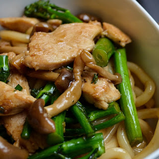 Udon Noodles with Chicken, Broccolini, and Shimeji Mushrooms