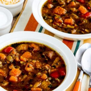 Instant Pot Southwestern Stew with Pork, Bacon, Peppers, and Sweet Potatoes.