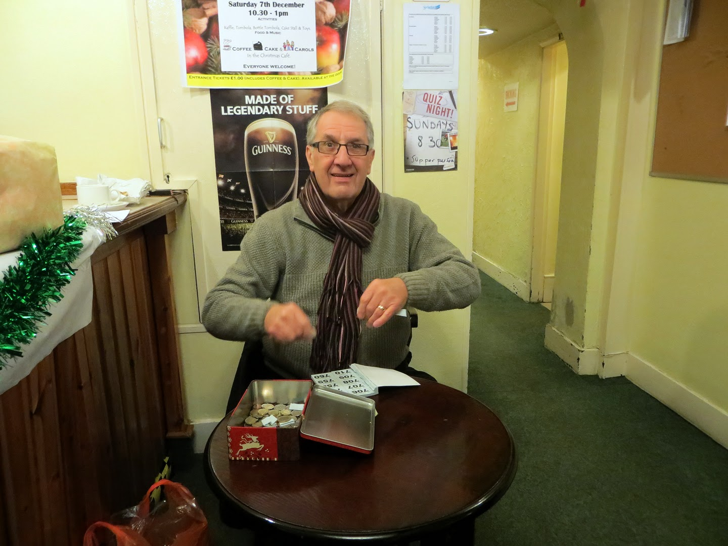 Photo: Alan sells the raffle tickets - his right hand is moving faster than the camera can capture - it's got the money in it!
