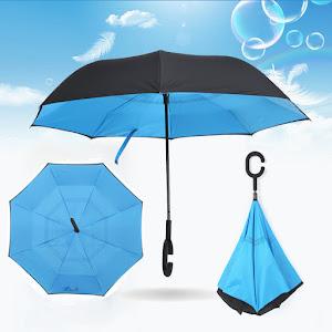 Umbrela reversibila de ploaie. Maner in forma de