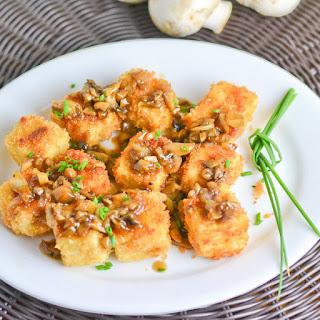 Crunchy Tofu with Mushroom Sauce.
