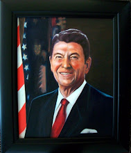 Photo: President Ronald Reagan portrait by Jane. Oil on Canvas 16 x 20, $1500.