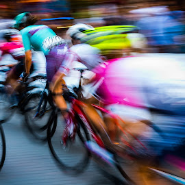Riding In The Pack by Garry Dosa - Sports & Fitness Cycling ( racing, sports, race, road race, blur, cycling, people, speed, outdoor, cyclists, outdoors, action, movement, sport )