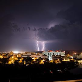 Thunderstorm by Mircea Popoveniuc - City,  Street & Park  Night ( lightning, sky, town, night, weather, thunderstorm, clouds )
