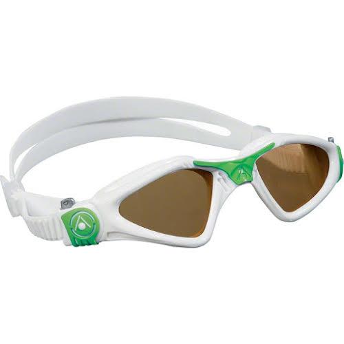 Aqua Sphere Kayenne SF Goggles: White/Green with Polarized Lens