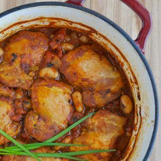 Chicken Braised in Fire Roasted Tomato Sauce.