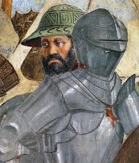 Piero della Francesca, Le Storie della Vera Croce, Battaglia di Eraclio e Cosroè, (particolare delle armature rinascimentali perfettamente ritratte nei lustri metallici)