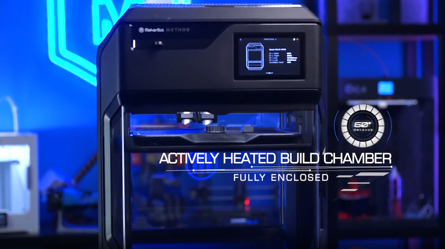 Actively heated build chambers are a rarity for 3D printers and a welcome feature of thr Makerbot Method.
