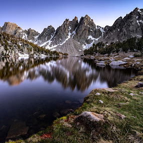 Alpine Lake by Evver Gonzalez - Landscapes Mountains & Hills ( landscape photography, mountains, evver g photo, trekking, sony alpha, eastern sierra, inyo, kearsarge pass, long exposure, twilight, summer, kearsarge lakes, onion valley, california, sequoia national park, alpine lake, inyo national forest, kings canyon, nature, american west, john muir trail, hiking, wild camping, southern california, high sierra, alpine, backpacking, sierra nevada, travel, lake )