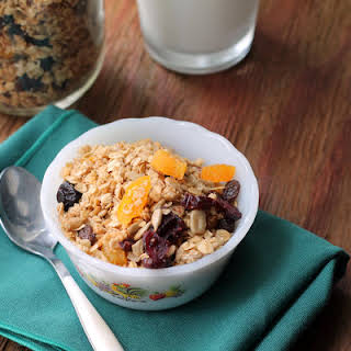 Homemade Fruit and Seed Granola with Coconut.