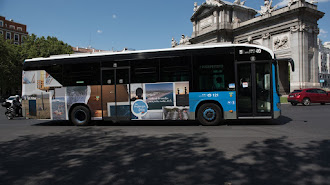 Uno de los autobuses con la imagen de Vera a su paso por la Puerta de Alcalá.