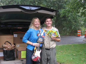 Photo: Kristen Gillette celebrates a car FULL of toys (1125 to be exact) with Clark Halpern whose Eagle Scout project was to raise toys for children in the cancer ward at Children's Hospital of Philadelphia.