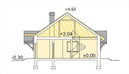 Alex wersja E z podwójnym garażem strop drewniany - Przekrój