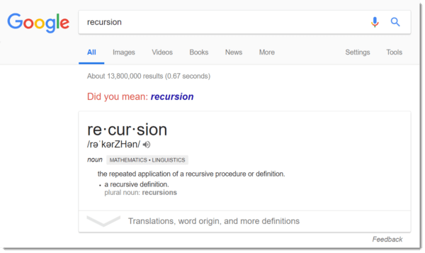 Google easter egg: recursion
