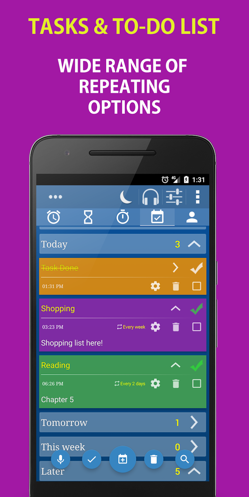 Alarm Clock & Timer & Stopwatch & Tasks & Contacts Screenshot 3