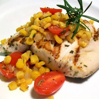 Rosemary Marlin with Roasted Corn and Tomato Relish.