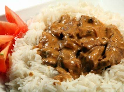 Beef Stroganoff Over Rice
