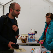 Photo: Organizer Mary with event participant at base camp in Anglesborough, Galtee Challenge/Crossing, June 30, 2013.