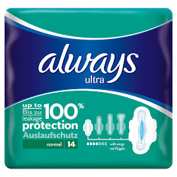 Always Ultra Normal Sanitary Towels With Wings - 14 Pack