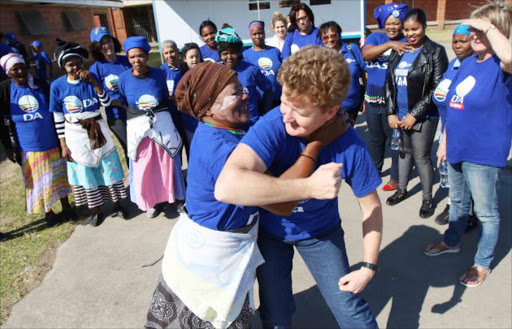 Nonceba Notyaleni and Sue Bentley doing some self-defence demonstration in Alphandale, East London. Picture: Michael Pinyana