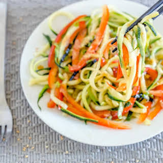 Japanese Zucchini Noodle Salad with Miso Dressing.