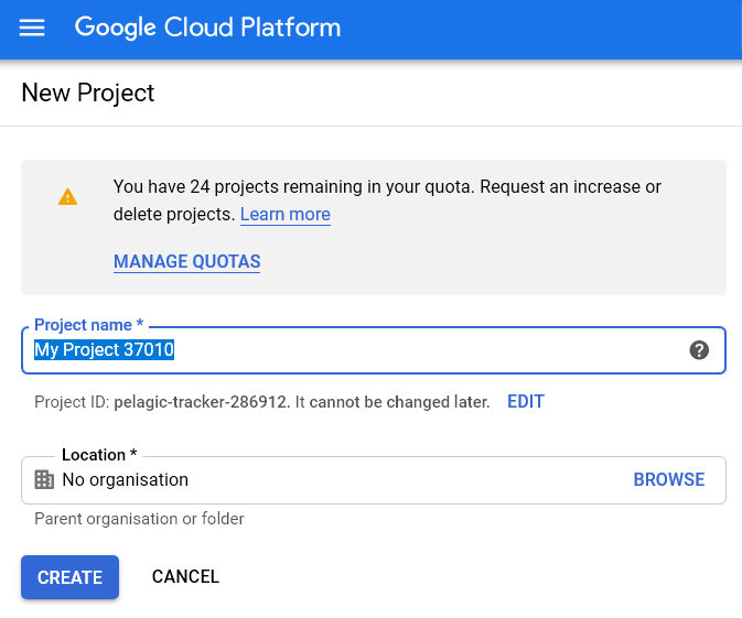 Create a new project - Transfer Data for Free from Google Sheets to your target destination