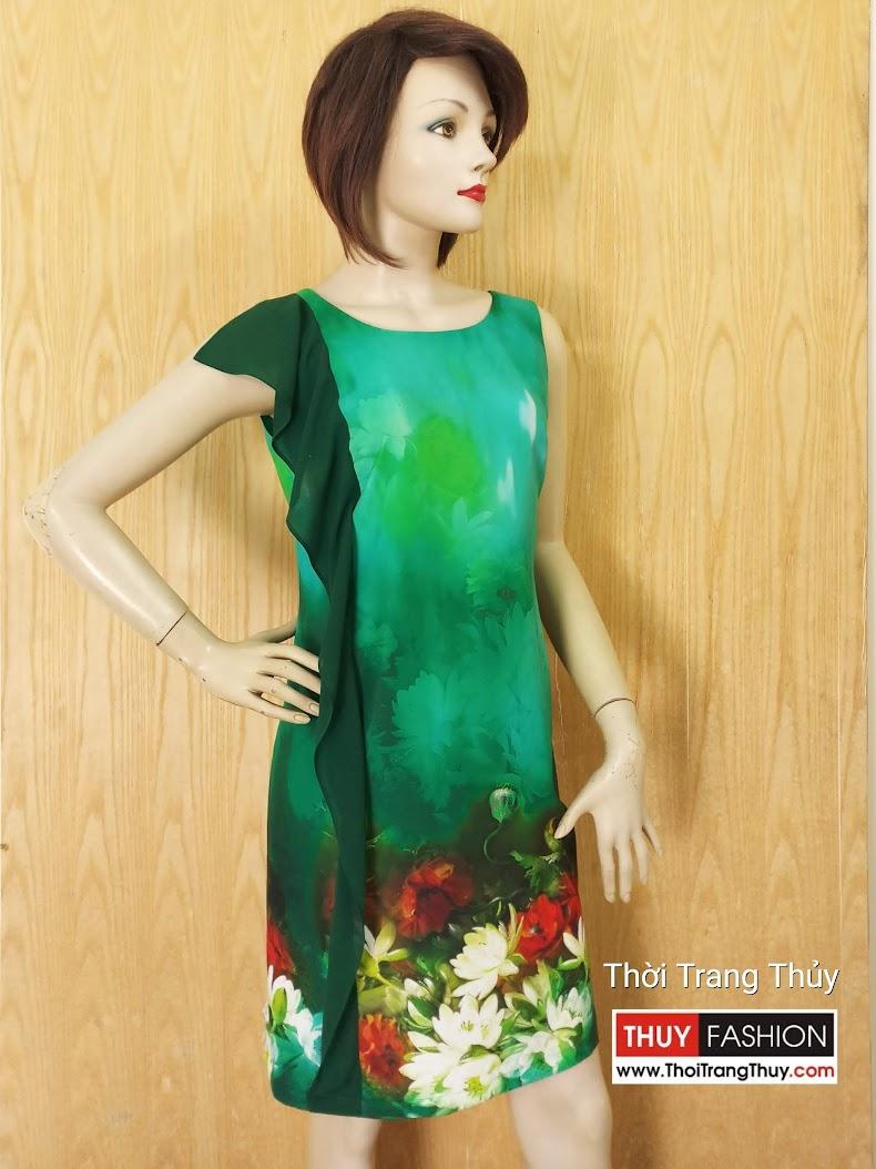 Váy suông phối bèo dọc thân váy họa tiết hoa V620 tại Hải Phòng