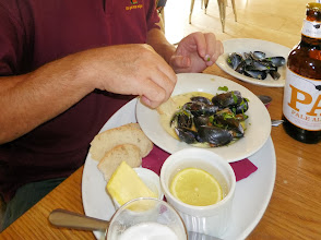 Photo: The restaurant food is a bit special. Here our Jonnty tucks into a plate of moules - normally he reckons on getting his moules in Belgium each Easter.