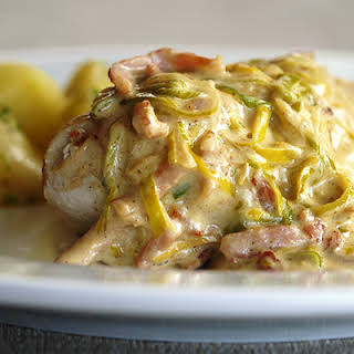 Chicken Fillet with Leek & Bacon Sauce.